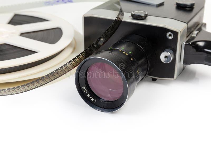 Câmera de filme do vintage e carretéis amadores de filmes super de 8mm fotos de stock royalty free