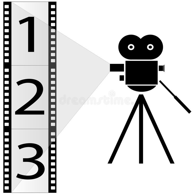 Câmera de filme e tira da película ilustração do vetor