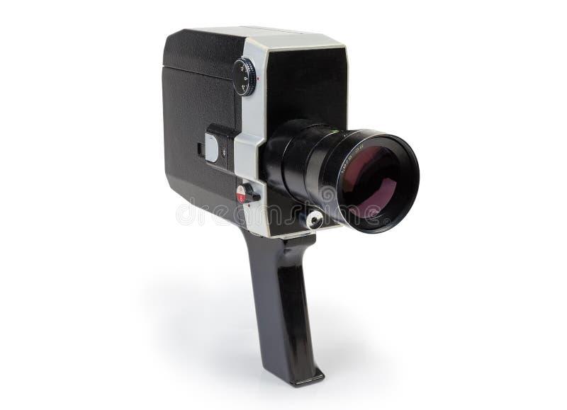 Câmera de filme mecânica 8mm amadora super em um fundo branco imagem de stock royalty free