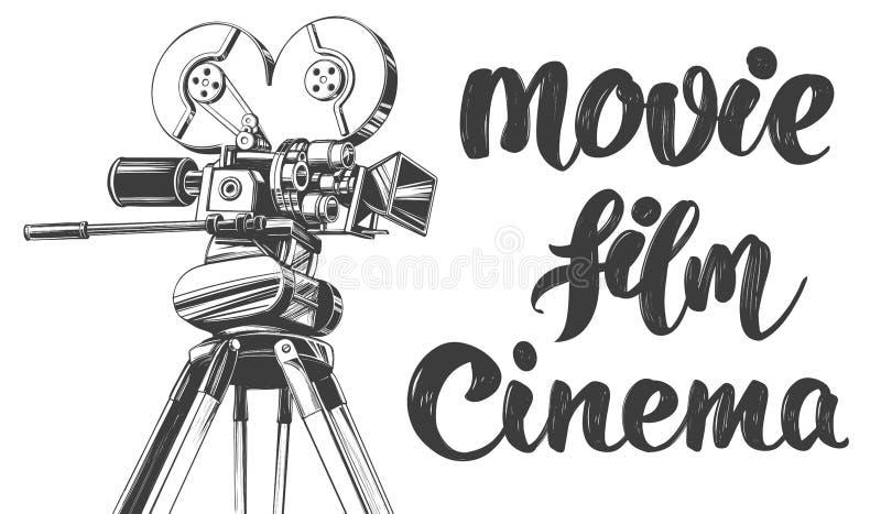 Câmera de filme velha do vintage, logotipo do cinema, esboço realístico tirado caligráfico da ilustração do vetor da mão de texto ilustração stock