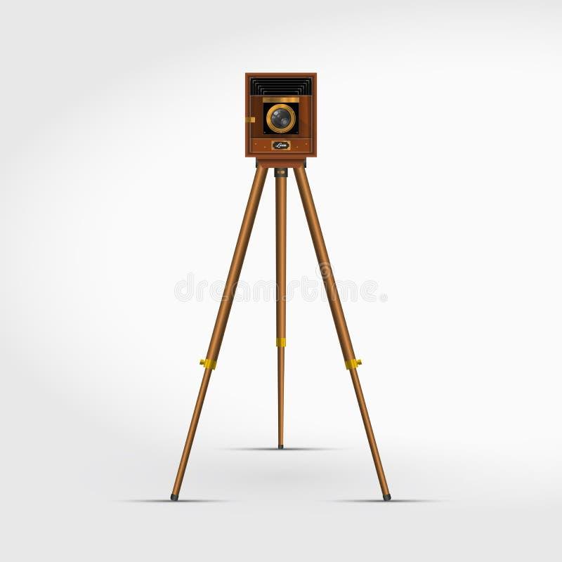 Câmera de madeira retro velha da foto em um tripé ilustração realística do vetor 3D ilustração do vetor