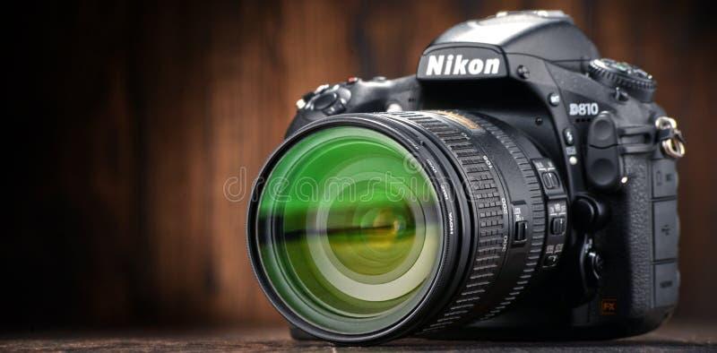 Câmera de Nikon D810 com zumbido do nikkor imagem de stock royalty free