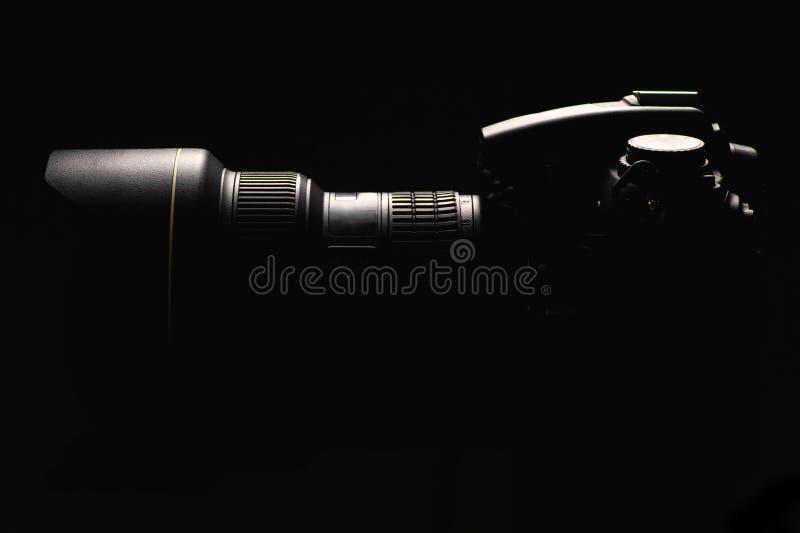 Câmera digital profissional da foto fotografia de stock