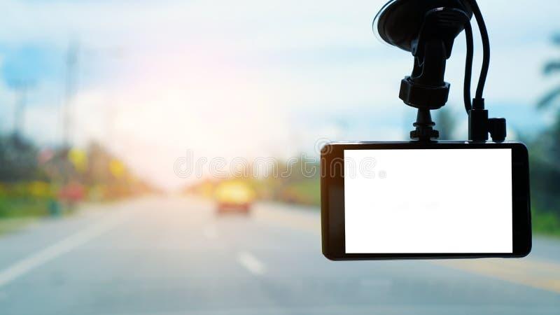 Câmera do carro do CCTV em um carro para a segurança no acidente de viação Conceito da tecnologia C?mera do carro Gravador de v?d fotos de stock royalty free