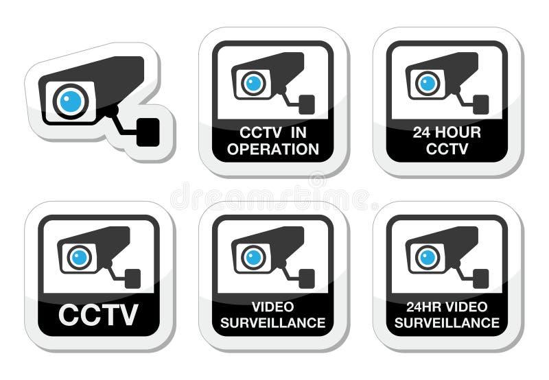 Câmera do CCTV, ícones video da fiscalização ajustados ilustração do vetor