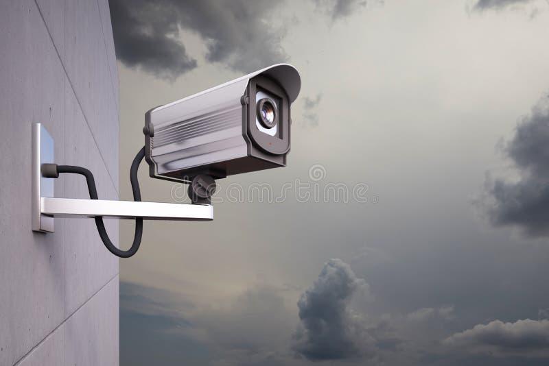 Câmera do CCTV com nuvens ilustração royalty free