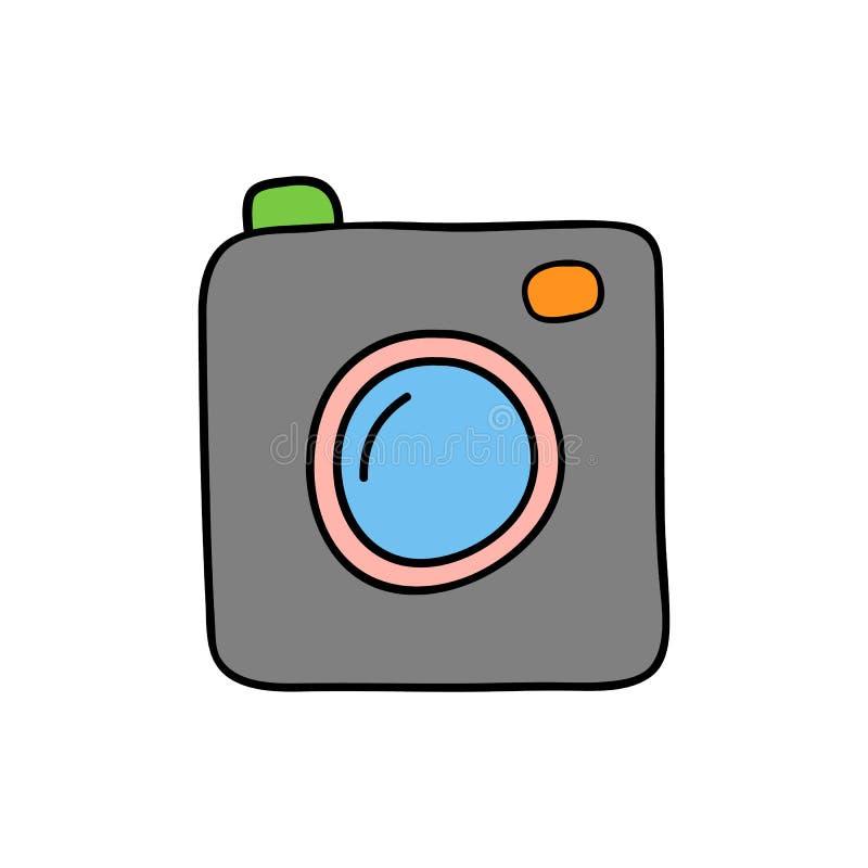 Câmera do estilo da garatuja ilustração do vetor