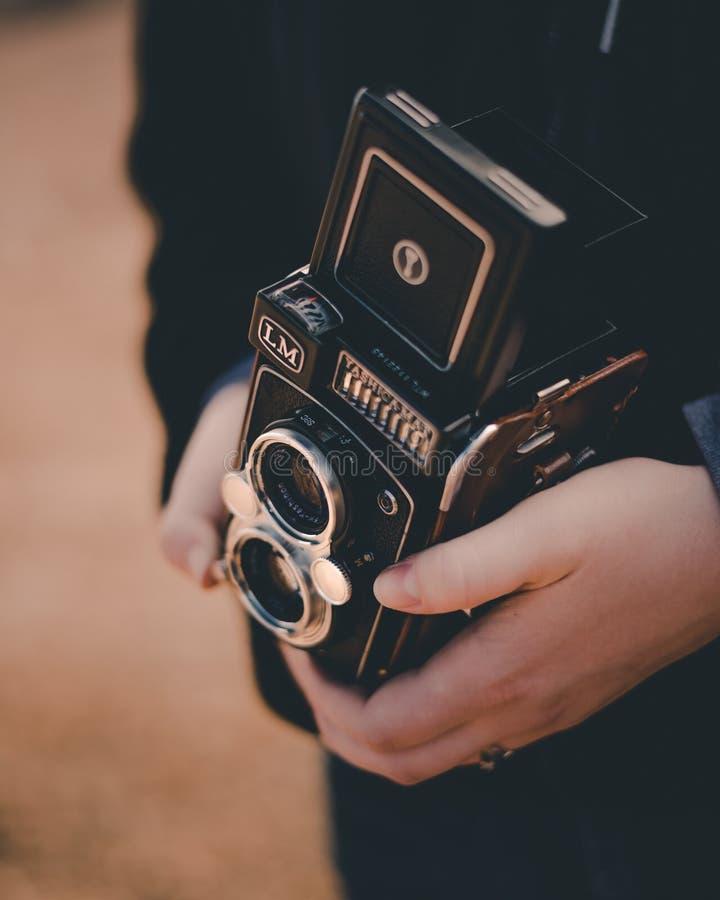 Câmera do filme da lente do duelo do LM da Yashica-esteira fotos de stock