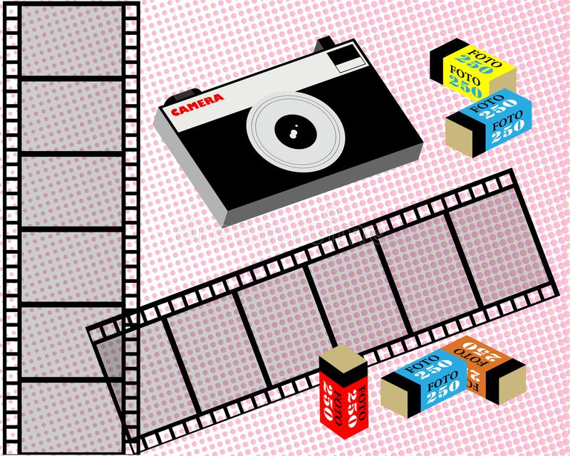Câmera do filme, filme, e filme velhos no pacote fundo Grosseiro-grained Vetor ilustração stock
