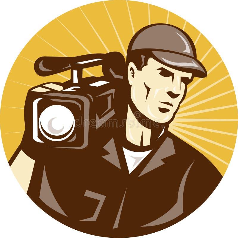 Câmera do grupo de película do operador cinematográfico ilustração stock