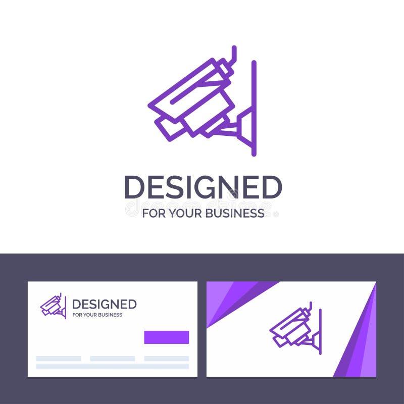 Câmera do molde criativo do cartão e do logotipo, Cctv, segurança, ilustração do vetor da fiscalização ilustração royalty free