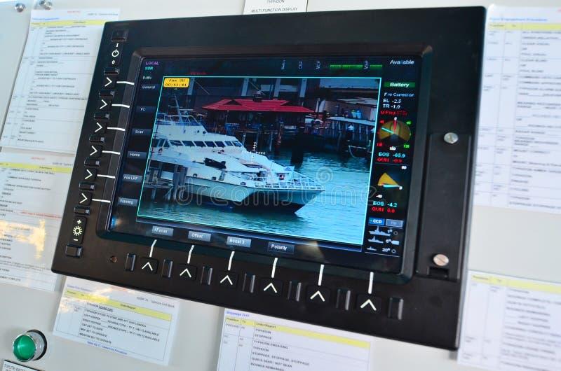 Câmera do monitor da fiscalização no barco-patrulha do navio fotografia de stock