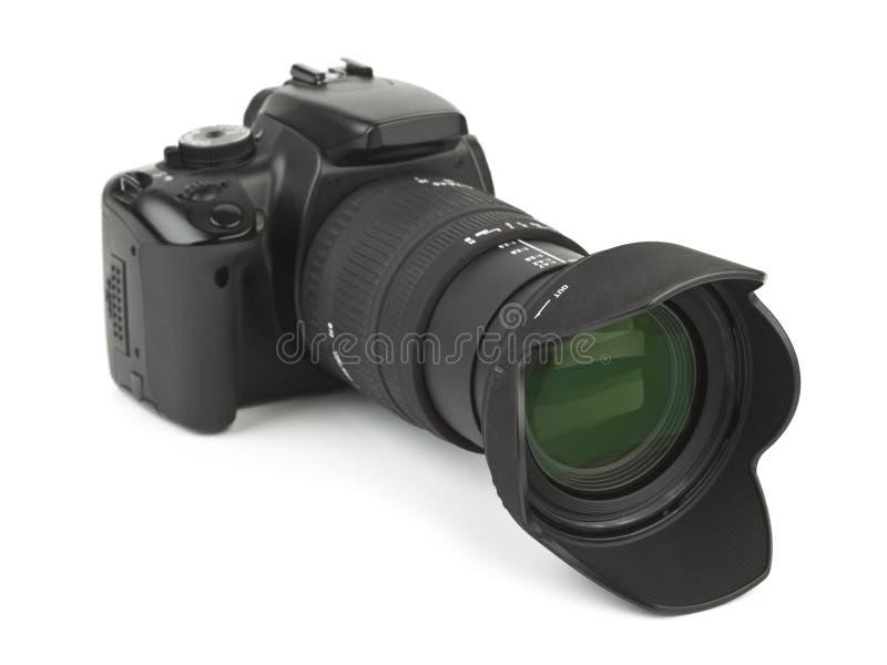 Câmera e cortinas da foto foto de stock