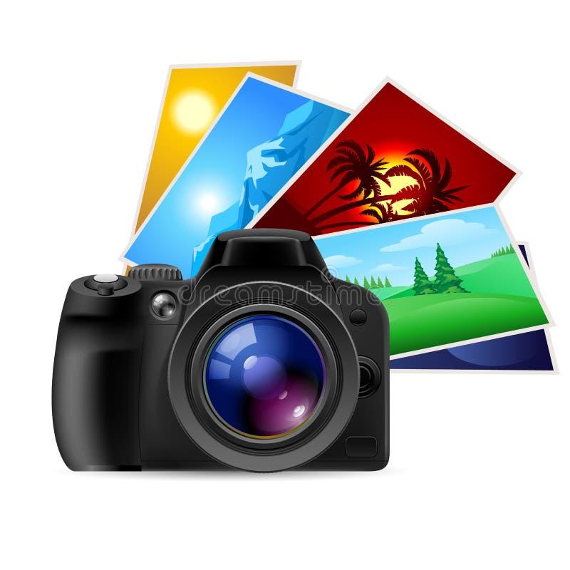 Câmera e fotos ilustração stock