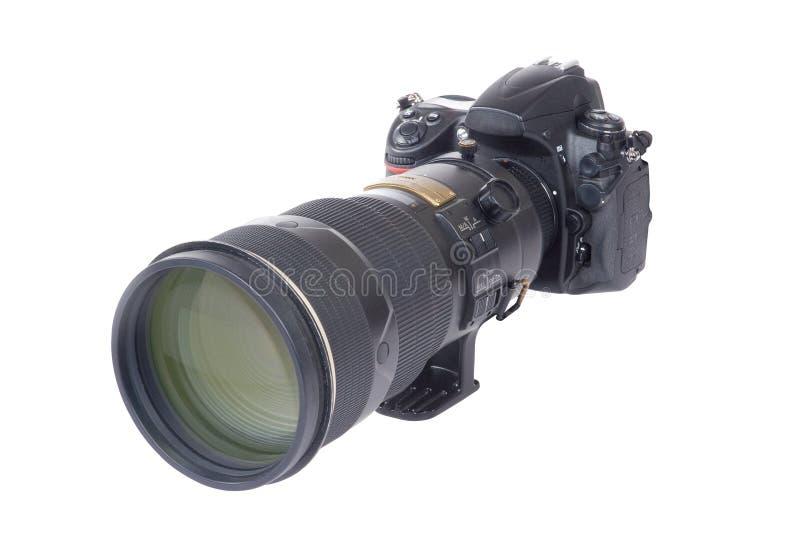 Câmera e lente (isoladas) imagem de stock