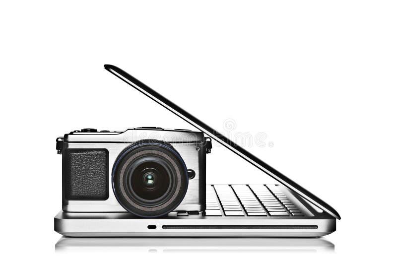 Câmera e portátil imagem de stock