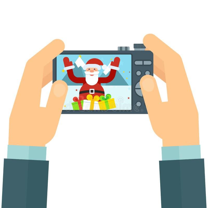 Câmera e Santa ilustração royalty free