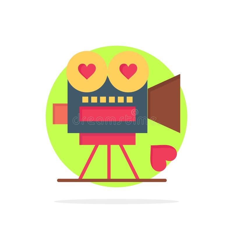 Câmera, filme, câmara de vídeo, amor, ícone da cor de Valentine Abstract Circle Background Flat ilustração stock