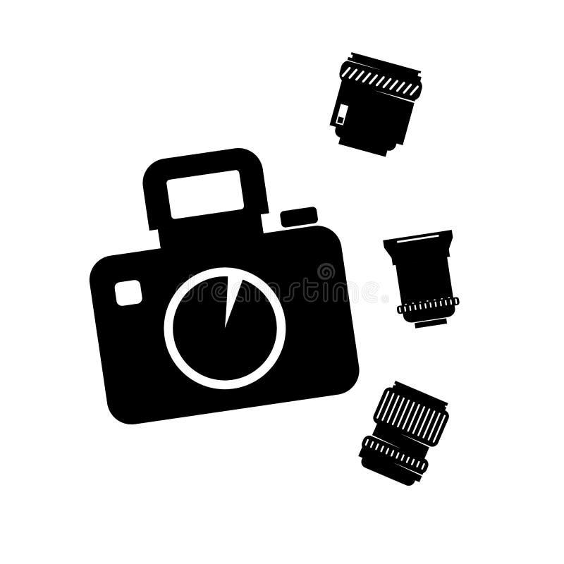 Câmera fotográfica com lente ajustada ilustração stock