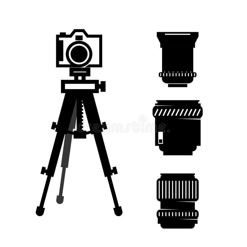 Câmera fotográfica no tripé com lente ilustração do vetor