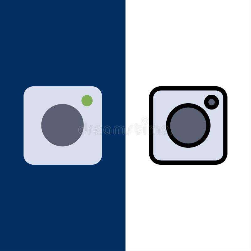 Câmera, Instagram, foto, ícones sociais O plano e a linha ícone enchido ajustaram o fundo azul do vetor ilustração do vetor
