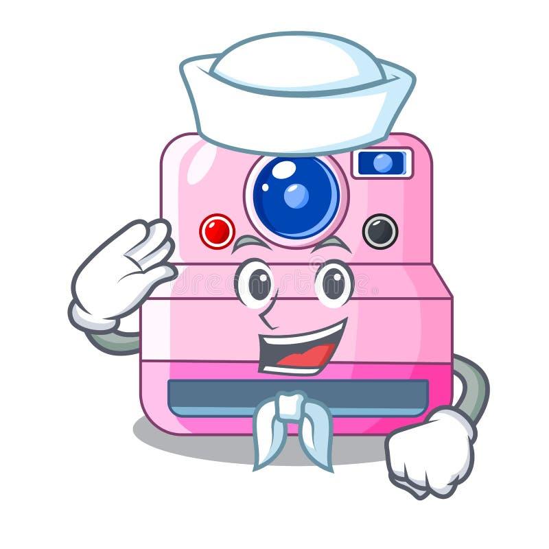 Câmera instantânea retro bonito do marinheiro em desenhos animados ilustração royalty free