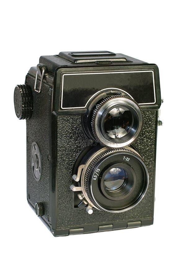 Câmera média do formato da lente do vintage dois. imagens de stock