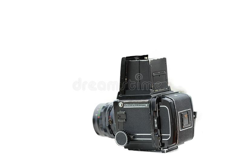 Câmera média retro do formato com fundo branco foto de stock