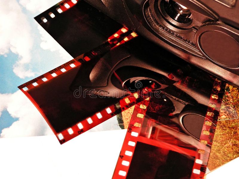 Câmera, películas e fotos imagem de stock