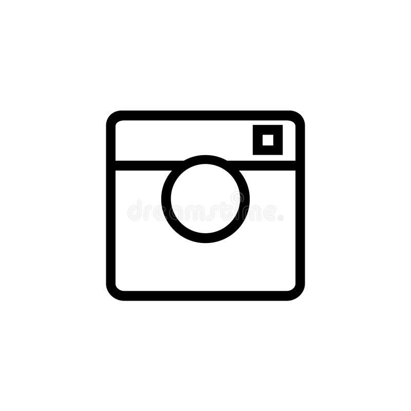 Câmera preta no ícone branco do fundo ilustração stock