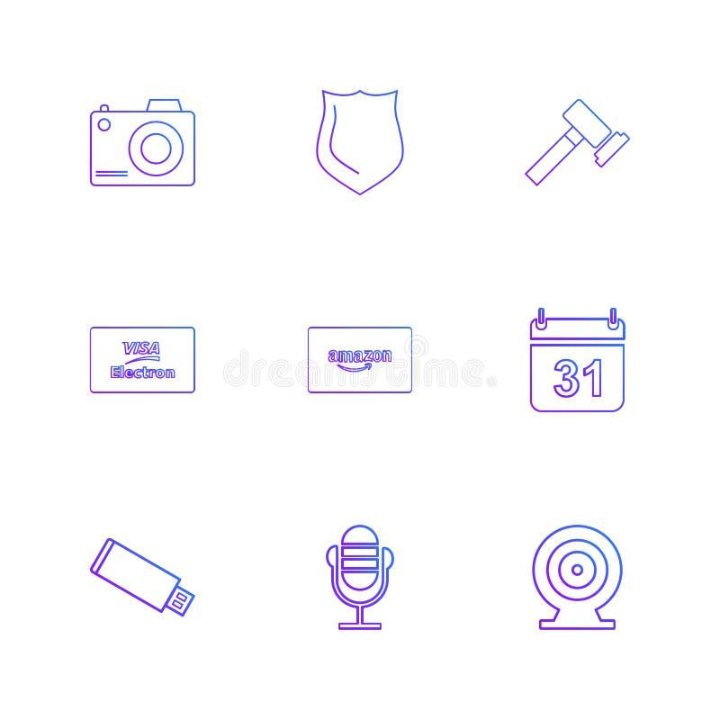 câmera, protetor, martelo, calendário, cartão de amazon, usb, microph ilustração royalty free