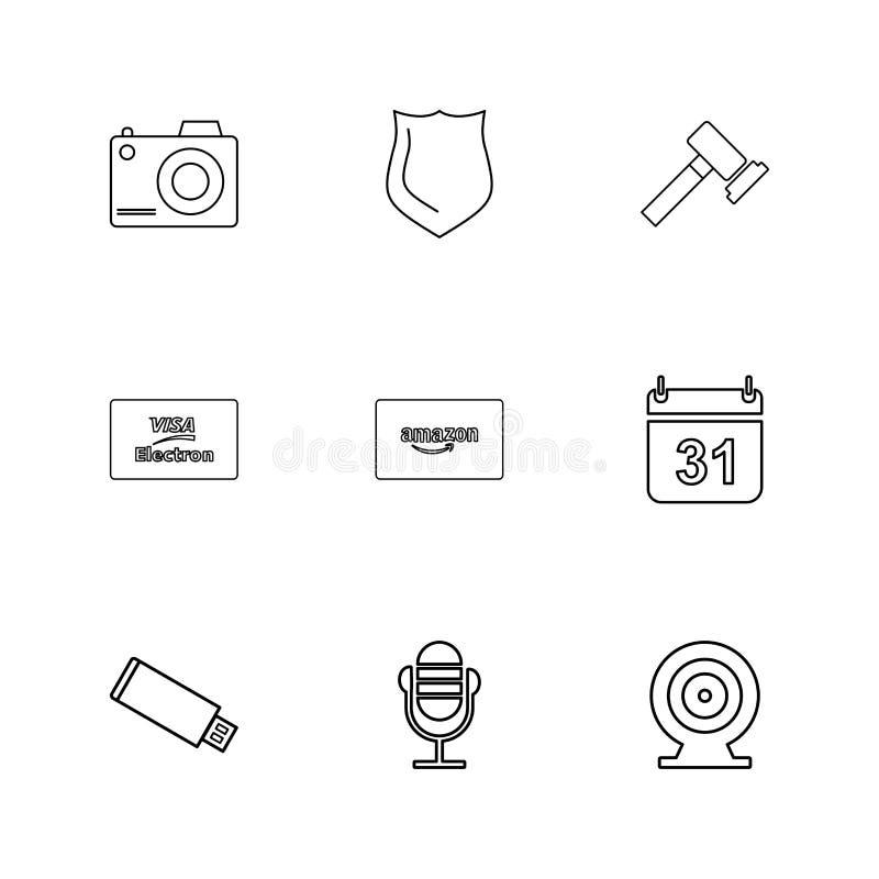 câmera, protetor, martelo, calendário, cartão de amazon, usb, microph ilustração do vetor