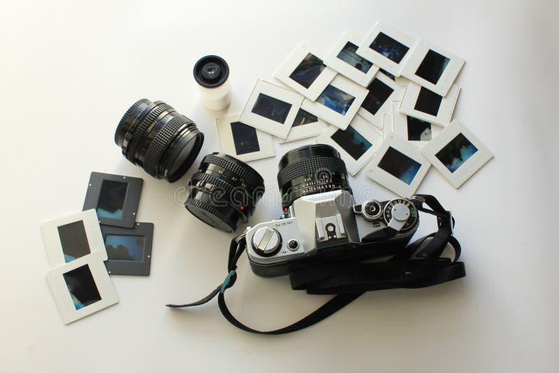 Câmera retro ajustada para a fotografia foto de stock royalty free