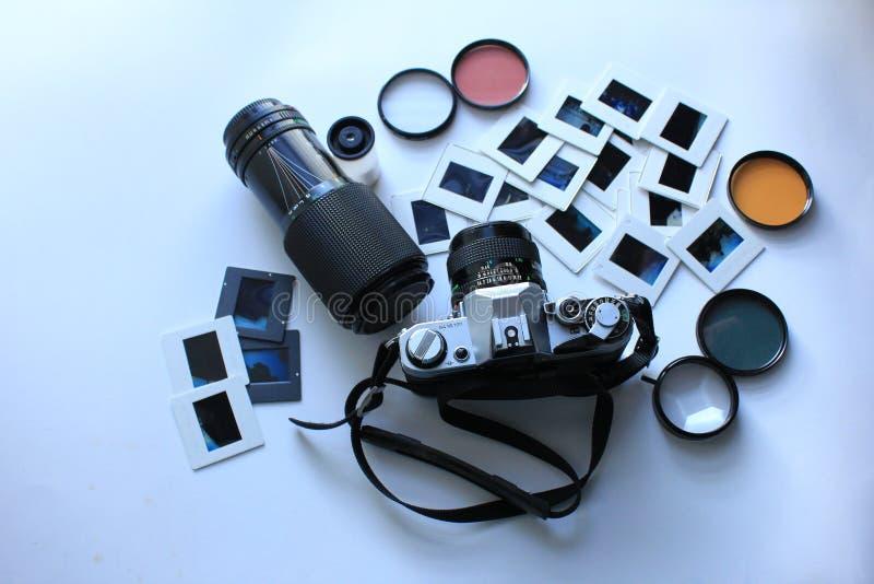 Câmera retro ajustada para a fotografia fotografia de stock royalty free
