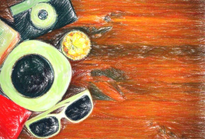 Câmera retro da foto, copo de café, passaporte, óculos de sol e queque ilustração stock