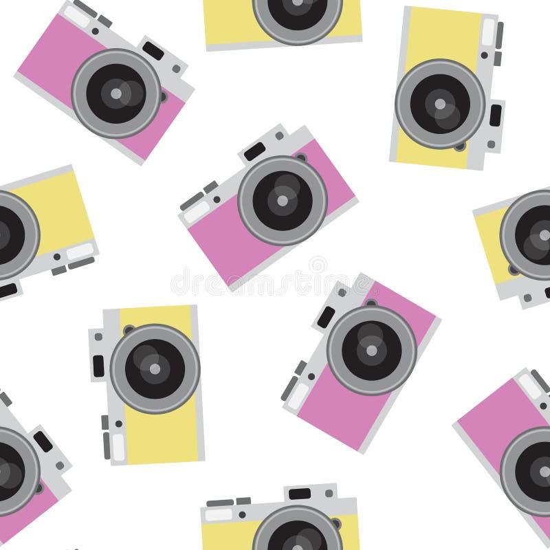 A câmera retro do rosa e do amarelo modela os quadris sem emenda da foto do vintage ilustração do vetor