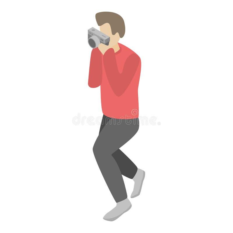 A câmera retro toma o ícone da foto, estilo isométrico ilustração do vetor