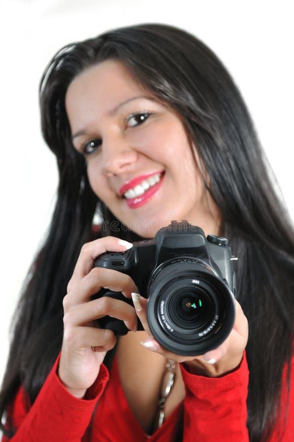 Câmera t disponivel da terra arrendada da mulher fotos de stock