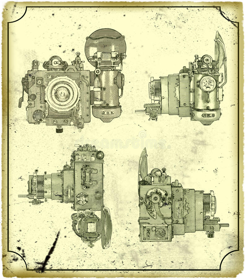 Câmera velha. ilustração do vetor