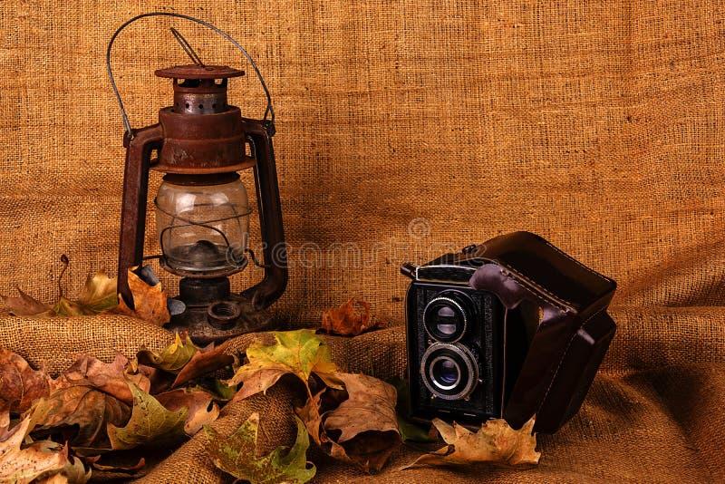 Câmera velha da folha seca e lâmpada velha imagens de stock royalty free