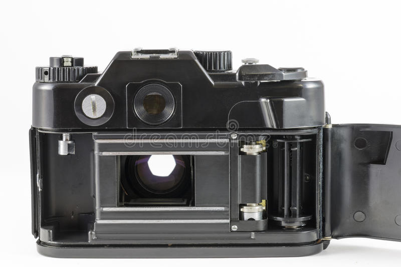 Câmera velha de 35mm SLR com para trás tampa aberta imagens de stock royalty free