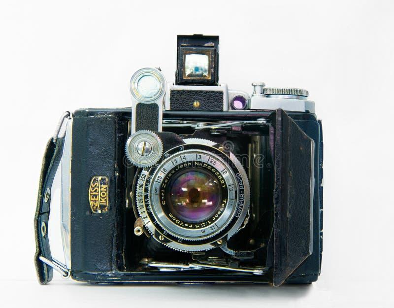 A câmera velha de NIKON Isolado no fundo branco fotos de stock