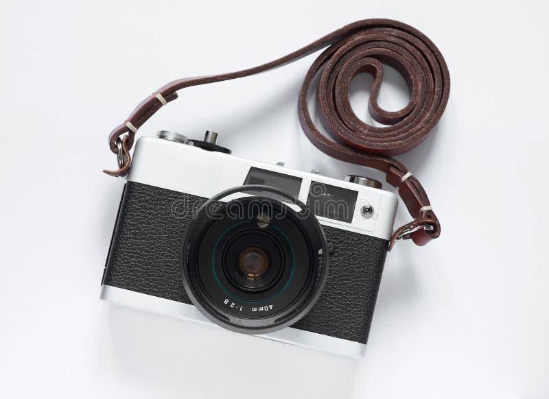 Câmera velha do filme Close-up branco do fundo Foto do vintage fotografia de stock royalty free