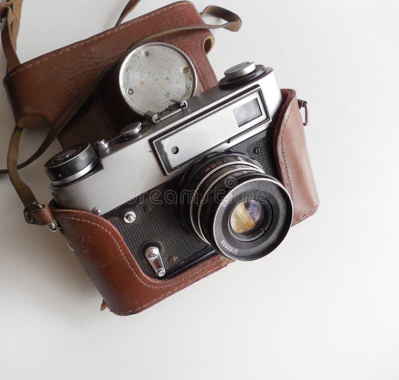Câmera velha soviética com tampa foto de stock