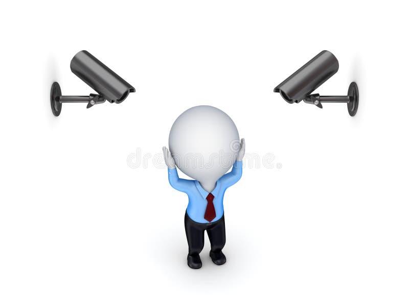Câmeras da observação e pessoa 3d pequena forçada. ilustração do vetor