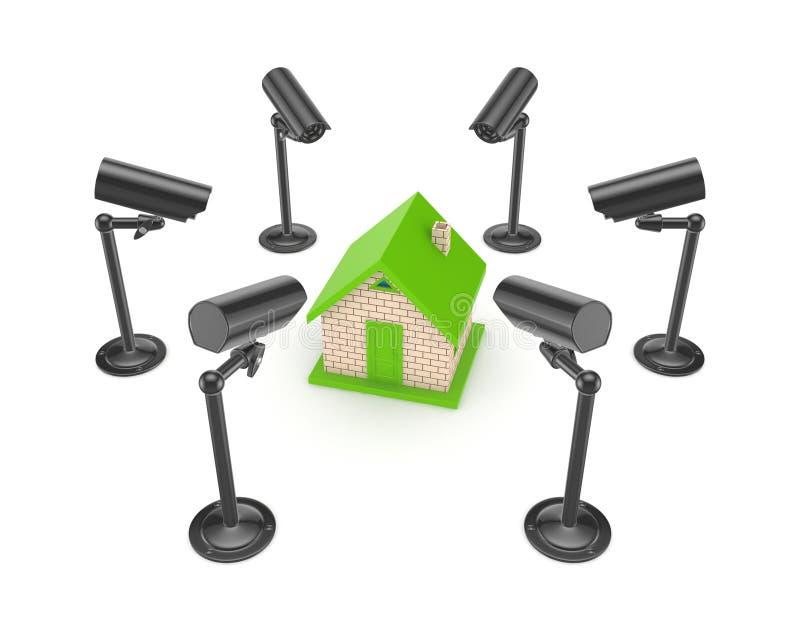 Câmeras da observação em torno da casa 3d pequena. ilustração do vetor