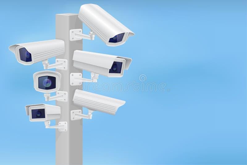 Câmeras do cctv da segurança ajustadas Supervisão do tráfego ilustração royalty free