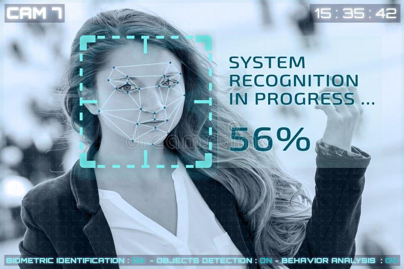 Câmeras do cctv da simulação com reconhecimento facial da mulher foto de stock