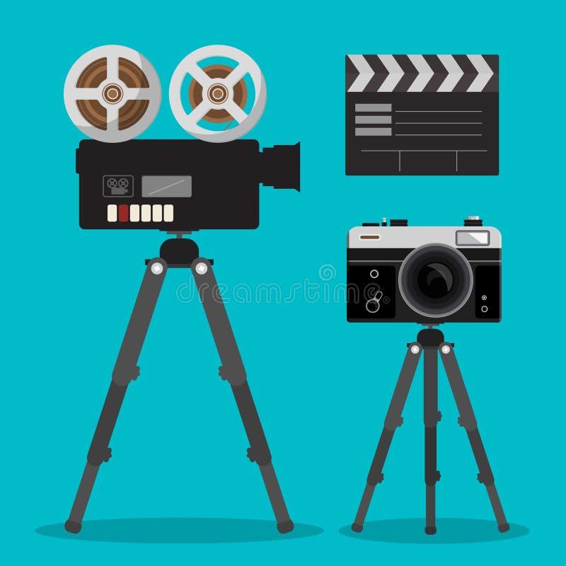 Câmeras do filme do filme e da foto ajustadas em tripés ilustração do vetor