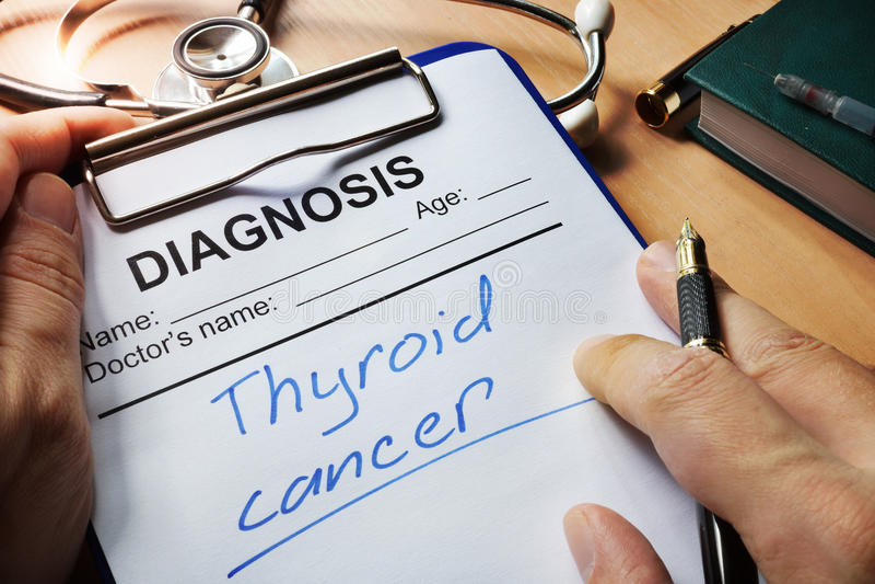 Câncer de tiroide do diagnóstico imagem de stock